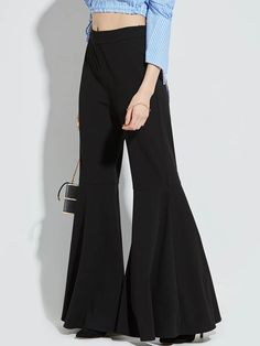 34f74743f96 Black Slim Pleated Full Length Women s Bellbottoms Taille Haute