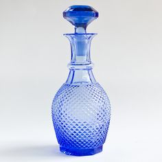 Vintage Cornflower Cut Glass Decanter