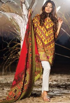 Red,green and cream designer printed suit - Desi Royale