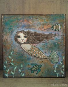 Original Mermaid Mixed Media Painting by Lisa by lisalectura, $70.00