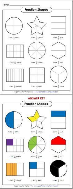 Brush up on basic fractions] Like to super teachers worksheets ********** :D Basic Math Worksheets, Fractions Worksheets, Teacher Worksheets, School Worksheets, Math Fractions, Dividing Fractions, Equivalent Fractions, Shapes Worksheets, Math Classroom