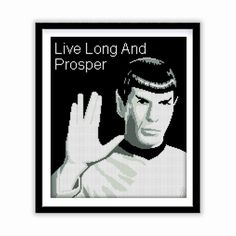 Buy 2 get 1 free. Mister Spock cross stitch pattern (#P- 1273) Star Trek cross stitch pattern, Live Long And Prosper - Modern cross stitch pattern. INSTANT DOWNLOAD  ********** BUY 2 GET 1 FREE (of equal or lesser value) **********  **** Free selection is not included with instant download, it is sent manually. **** Free selection is NOT to be purchased, only noted.  (Add 2 patterns to your cart and write to me # from the title of 3 pattern into the Note to GlazovPattern box upon checkout…