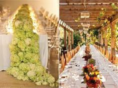Love the table runner of Hydrangea's