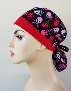 Your place to buy and sell all things handmade Scrub Caps, New Print, Hat Making, Hats For Women, Ponytail, Scrubs, Skull, Awesome, How To Wear
