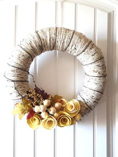Rustic Felt Wreath Yellow Roses Berries Pods on by saffronfields