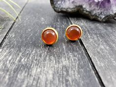 Sterling Silver Stud Earrings Rope Designs /& 4mm Cabochon Cut Natural Carnelian Stone 1//4 inch tall