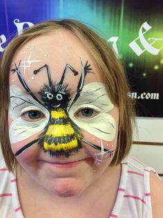 Bumble bee face painting by Eleanor Ross @ Spectrum Face Painting & Body Art