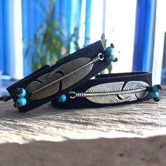 Feather bracelet, vegan suede bracelet friendship