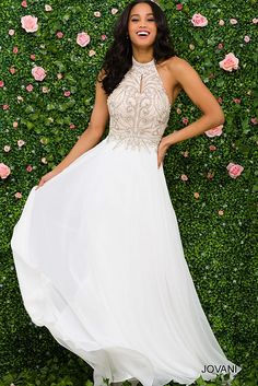 Tempting ivory halter wedding dresses