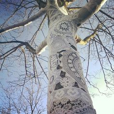 Yarnbombing a tree with crochet, lace and doilies. Project of Heidi van Hooijdonk and Boukje Heddema. December 2014, Kattendijke, the Netherlands