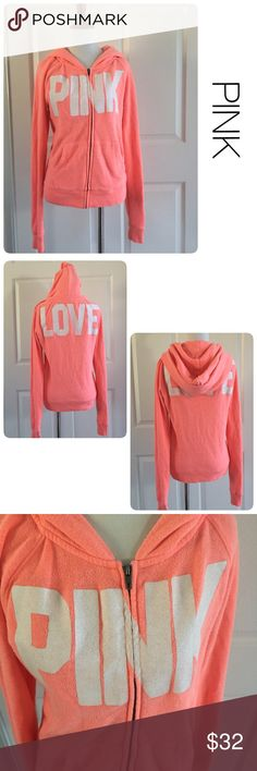 PINK Victoria's Secret coral colored hoodie xs ♦️Good condition.  No holes or stains. Minor piling. ♦️Runs large                                                  ♦️Materials- 60 cotton/40 polyester                 ♦️Measurements:                                  ♦️Laying flat armpit to armpit: approximately 17 inches                          ♦️Laying flat from the back of the neck to the bottom of the front hem is approximately 24 inches PINK Victoria's Secret Tops Sweatshirts & Hoodies
