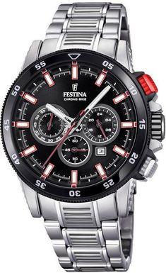 FESTINA Chronograph 'Chrono Bike, in rot / schwarz / silber Dream Watches, Luxury Watches, Cool Watches, Rolex Watches, G Watch, Hand Watch, Casio Watch, Linear Gradient, Mens Watches For Sale