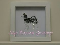 This beautiful Husky Picture is a box frame full of sparkle!  Made with dog lovers in mind, my collection of dog box frames are handcrafted with love. This would make and ideal gift for a Husky lover and will he completely unique. The frames are 7x7 inch and the picture is 6x6 inch.  Personalisation can be made to the frame, matching your dogs markings or adding a name underneath, this would cost and extra £3.50 per personalisation (£7 if you would like both) how this works is that I would…