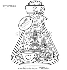 Coloring book for adults. A glass vessel with dreams of traveling to Paris.A bottle with butterfly, ladybug, leaves, cup of coffee,valentines and Eiffel Tower