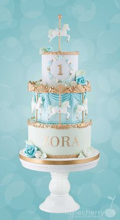 Mint and blue carousel cake