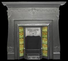 Antique Edwardian Art Nouveau cast iron fireplace surround.  - Fireplace Surrounds
