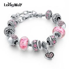 925 Silver Charm Bracelets For Women With Crystal Beads Bracelets - 18cm length - variants of colors #braceletsfor
