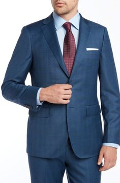 e5c6ded9e Blue windowpane 100% Wool Enzo super 150s premium suit. 2 button Modern fit