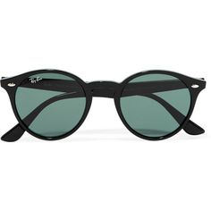 Ray-Ban Round-frame acetate sunglasses (£115) ❤ liked on Polyvore featuring accessories, eyewear, sunglasses, glasses, óculos, occhiali, black, uv protection glasses, ray ban sunnies and ray-ban eyewear