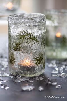 Winter Wonderland Decor: DIY Faux Ice Candle Holders - Entertaining Diva @ From House To Home These DIY faux ice candle holders made from mason jars are an easy way to add some sparkle (without the cold) to your winter wonderland decor. Winter Wonderland Decorations, Winter Party Decorations, Winter Wonderland Party, Christmas Decorations, Mason Jar Candle Holders, Mason Jar Candles, Diy Candles, Decorative Candles, Pot Mason
