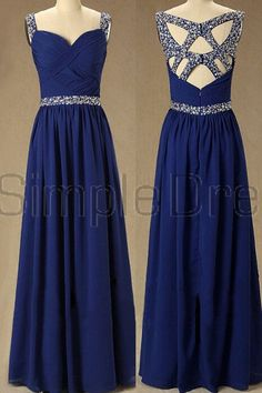 Simple Dress 2015 Beading Sweetheart Royal Blue Floor-length Chiffon Prom Dresses/Evening Dresses CHPD-7143