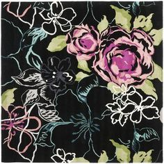 Safavieh Wyndham Square Wool Hand Tufted Floral Area Rug Black / Multi Home Decor Rugs Area Rugs Biscuit, Floral Area Rugs, Square, Wool Rug, Rug Size, Size 2, Antiques, Drawings, Artwork