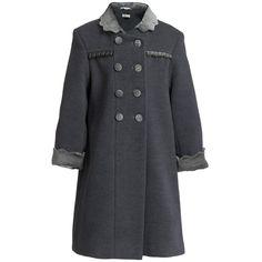Girls Grey Traditional Velvet Collar Coat - Coats & Jackets - Girl | Childrensalon