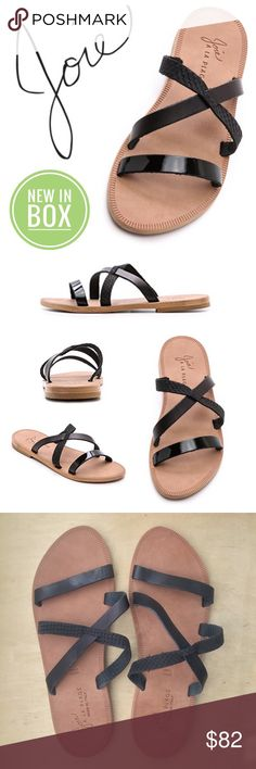 33928af9e14 NIB Joie a la Plage Leather Sandal Slides in Black NEW in BOX Joie à la