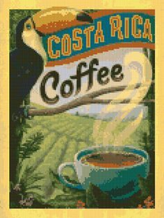Costa Rica Coffee - This vintage print is perfect for any coffee-lover who likes to decorate with a lush tropical vibe. Printed on gallery-grade paper, this classic piece of caffeinated decor is sure to make any wall brighter and happier! Coffee Poster, Coffee Art, Coffee Cups, Coffee Jello, Coffee Shop, Coffee Maker, Coffee Barista, Coffee Drawing, Coffee Menu