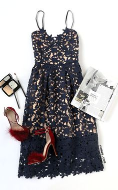 Party Dress - Navy Embroidered Lace Overlay Cami Dress with heels