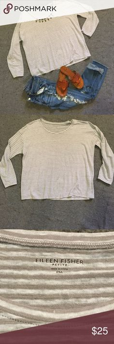 Eileen Fisher linen box style top Light grey and white striped box style top with 3/4 sleeves. Perfect condition, light & airy for spring. ☀️No trades ☀️Considerate of all reasonable offers! Eileen Fisher Tops Tees - Long Sleeve