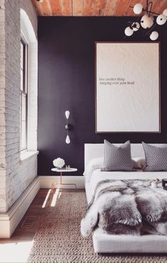 Great sexy minimal bedding arrangement on platform bed