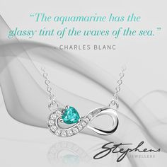 Who would love this beautiful infinity necklace set with a bright aquamarine stone? We would! Come in store or shop these styles online at http://www.stephensjewellers.com.au/brand/stephens?category=&stone_type=&metal_type=&search_query=&gender=&promotion= #Stephensjewellers #Jewellery #Gold #Rings #Aquamarine http://stephensjewellers.com.au/