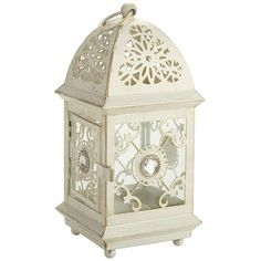 White Jeweled Metal Mini Lantern