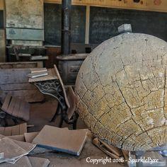 Abandoned Photography - Abandoned World - Instant Download - Abandoned Globe, Abandoned School House, Vintage School Room