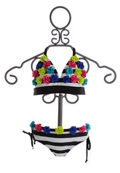 Limeapple Striped Bikini for Tweens with Colored Rosettes $41.00