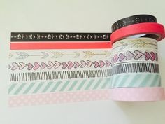 Set of 7 Thinner Width Washi Tapes by GoatGirlMH on Etsy