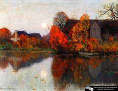The Pond In October Artwork By Clarence Gagnon Oil Painting & Art Prints On Canvas For Sale Canadian Painters, Canadian Artists, Landscape Art, Landscape Paintings, Oil Paintings, Clarence Gagnon, Of Montreal, Oil Painting Reproductions, Art Prints For Sale