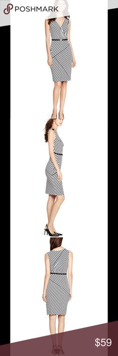 """🆕 WHBM surplice dress Walk the line to fine style— sleeveless black and white striped dress intersects with perfectly placed panels for modern appeal.  Sheath dress Surplice neckline Invisible side zip with hook and eye closure Optional belt Fully lined 90% rayon, 10% spandex. Upper Lining: 92% polyester, 8% spandex. Lower Lining: 73% nylon, 27% spandex. Machine wash, cold.  Underarm across 16"""". Length 35"""". Brand new with tag. Retail price $140. White House Black Market Dresses"""