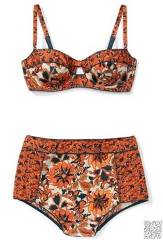 6. #Vintage Pattern + #High-Waisted Bottoms - 7 Sexy #Summer Bathing #Suits You'll Be Blown Away by ... → #Fashion #Bikini