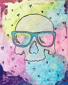 Skull with hearts painting by pop artist Liz Kelly Zook