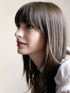 10 Long Bangs Hairstyles And Haircuts To Make You Try - Dark and straight