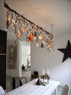 weihnachten With an IKEA lamp! Tropical Home Decor 2 Article Body: Who wouldn't love to have their h Christmas 2017, Christmas And New Year, Winter Christmas, All Things Christmas, Christmas Lights, Christmas Crafts, Christmas Chandelier, Christmas Branches, Christmas Ornaments