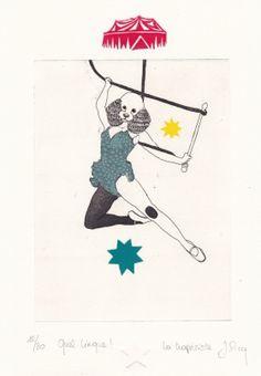 Gravures & Estampes | Jeanne Picq | La trapéziste | Tirage d'art en série limitée sur L'oeil ouvert