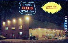 Workers Union, Bus Station, Oklahoma City, Neon Signs, Night, Black People