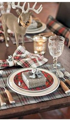 Christmas Table Settings with place favors - looking forward to winter gatherings!