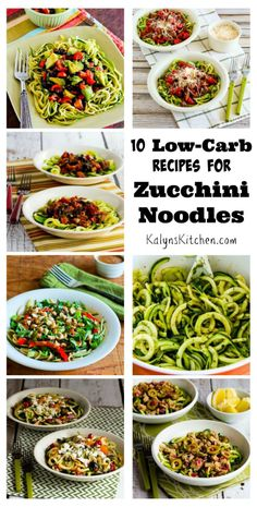 Zucchini noodles are easy and healthy, and you can can change them up with lots of flavorful ingredients. Here are 10 Low-Carb Zoodles recipes I've loved! [from KalynsKitchen.com] #LowCarb #EasyRecipe