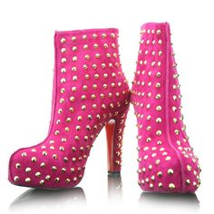 Ariella Silver Studded Pink Christian Louboutin Booties 120mm Suede Unique [Suede Pink Christian Louboutin Booties Ariella ] - $138.00 onsale