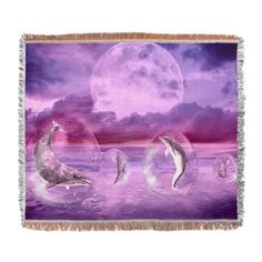 Dream Of #Dolphins Woven #Blanket Dolphins swimming in water bubbles. The sea and the landscape is #purple!  €62.50