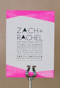 "Brides.com: 20 Geometric Invitations for Modern Couples. ""Neon Invitation Set"" flat-printed wedding invitation, price available upon request, Rabbit Foot Fern Design"